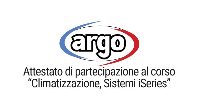 Attestato di partecipazione al corso climatizzazione sistemi iSeries Argo
